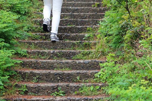 階段を上がる一人の女性