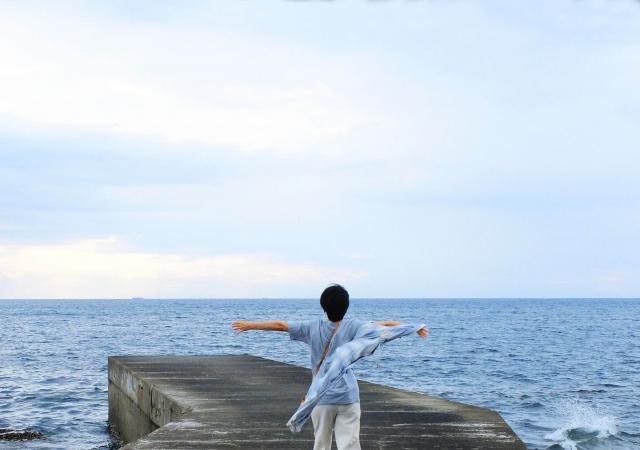 海で深呼吸